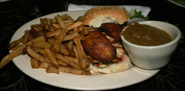 Jerk chicken sandwich from Vickery's