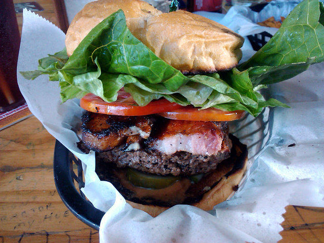 Tattooed Moose Moose burger with pork belly